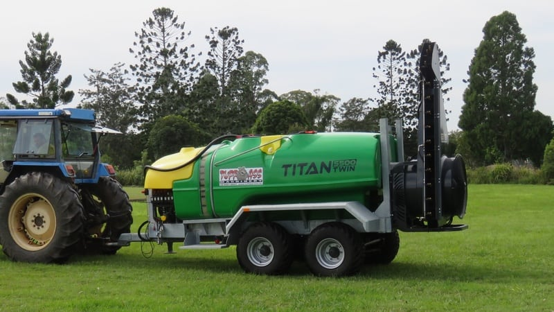 A double sided twin fan air blast sprayer specially designed and tested for macadamia, avocado and any other tall plantations. 1000 - 5500L capacity.