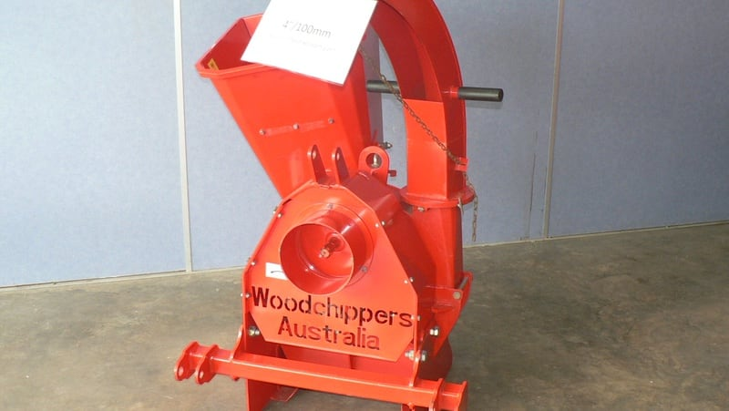 "A 100mm (4"") PTO driven woodchipper with manual infeed chute designed for smaller farm prunings."